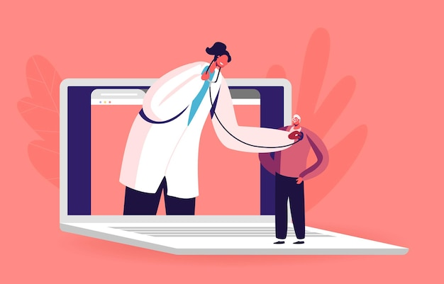 オンライン医学。巨大なノート パソコンの画面に白衣を着た医師のキャラクターが聴診器で患者の心臓の鼓動を聞く