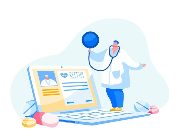 온라인 의학. 의사 또는 간호사 캐릭터