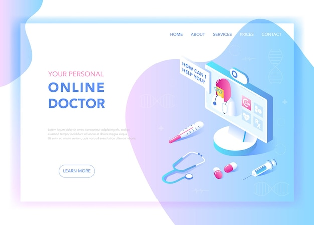 Online medicine and healthcare flat isometric design concept. medical services, pharmacy landing page template. health consultation webpage layout. vector illustration