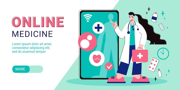 Online medicine horizontal banner composition with slider more button editable text and smartphone with female doctor  illustration