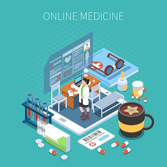 Online medicine isometric composition mobile device with office of doctor and medical objects turquoise