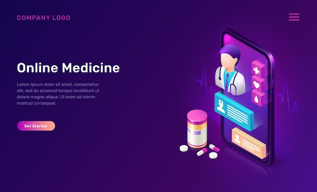 Online medicine isometric concept, telemedicine