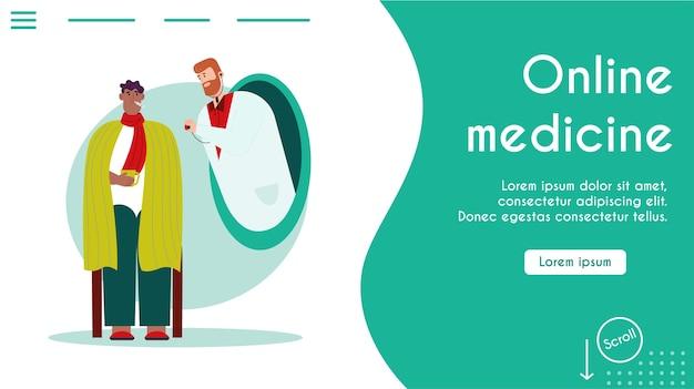 Онлайн-медицина, современная диагностика в домашних условиях. мужчина с лихорадкой, симптомами гриппа или простуды. врач дистанционно осматривает больного.