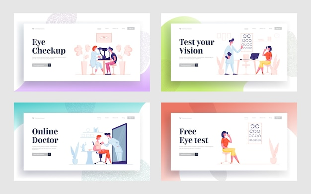 Online medicine, professional optician exam patient vision landing page template set