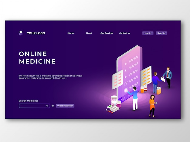 Online medicine provided from mobile app concept. online medicin