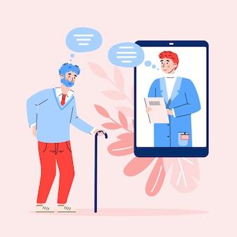 Online medicine and remote medical help for elderly people a illustration