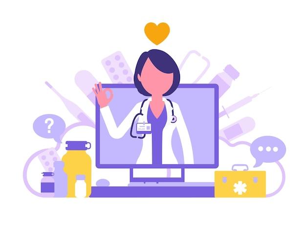 Экран медицины онлайн с доктором. интернет-аптеки или разработка электронной аптеки, магазин медицинских товаров, профессионалы для диагностики и лечения. абстрактные векторные иллюстрации, безликие персонажи