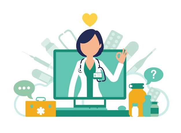 의사와 온라인 의학 화면