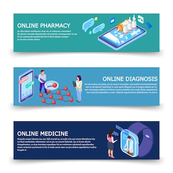 Online medicine services s  template with isometric concept