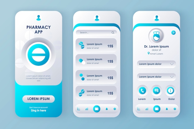 Online medicine unique neomorphic  kit. pharmacy app with medical consultation, drugs description and pricing. drugstore service ui, ux template set. gui for responsive mobile application.