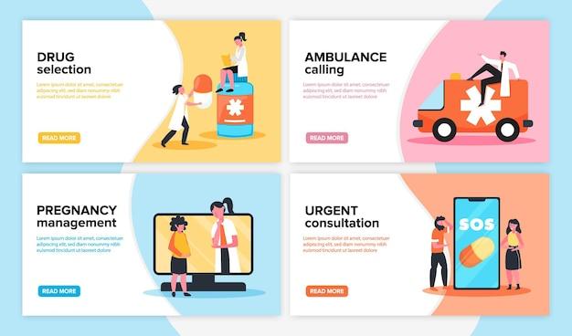 Веб-баннеры онлайн-медицины с кнопками «читать дальше», редактируемым текстом и людьми врачей