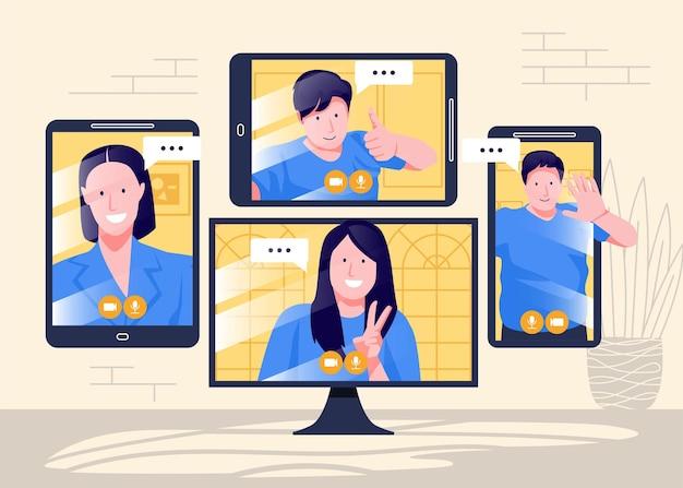 Онлайн-встречи и работа из дома векторный дизайн мужчина и женщина на конференции удаленной работы