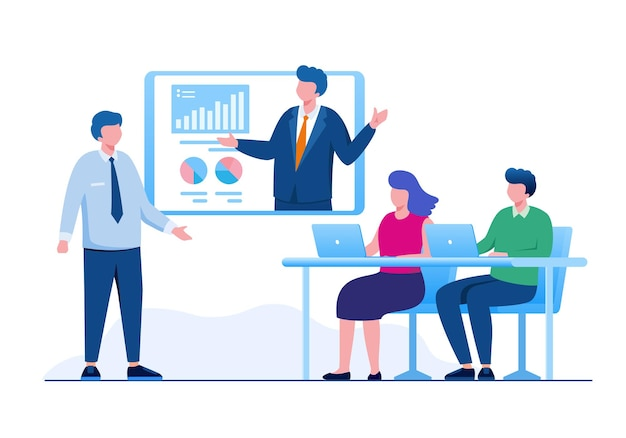 Online meeting business concept flat vector illustration for banner landing page