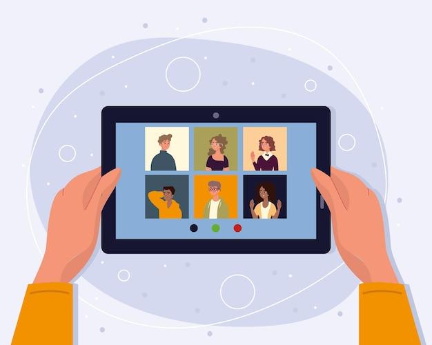 태블릿으로 온라인 회의