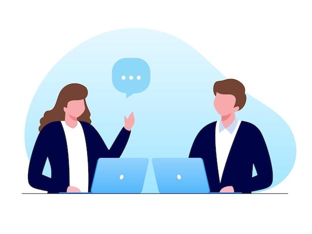 Онлайн-встреча для бизнеса плоский вектор иллюстрации баннер для целевой страницы веб-сайта