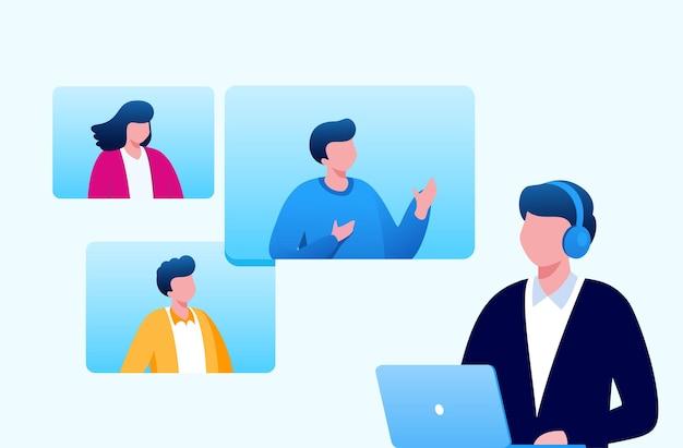 ランディングページのウェブサイトのためのビジネスフラットベクトルイラストバナーのオンライン会議