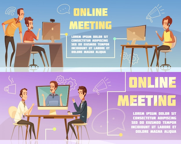 Online meeting horizontal banners set with business and work symbols cartoon isolated vector illustration