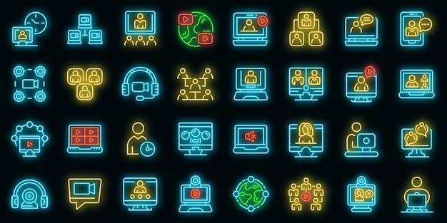 온라인 회의 아이콘을 설정합니다. 블랙에 온라인 회의 벡터 아이콘 네온 색상의 개요 세트