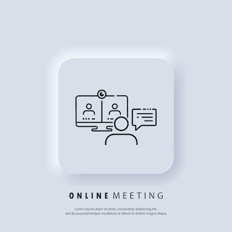 Online meeting. live webinar banner. watching on laptop online streaming, video training, seminar. educational resources line icon. internet education concept, e learning resources.
