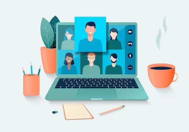 화상 회의를 사용하는 사람들의 온라인 회의 원격 회의 및 집에서 원격으로 작업