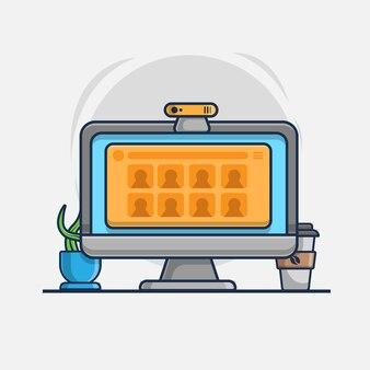 Онлайн-встреча на значке иллюстрации ноутбука