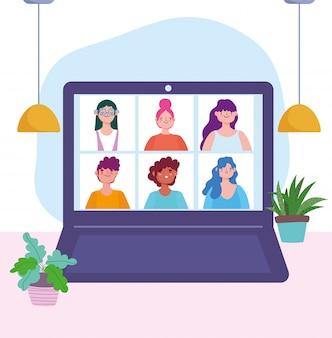 코로나 바이러스 covid 19 동안 온라인 회의 또는 회의, 노트북 사람들 연결 작업 개념 그림
