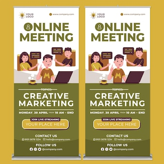 Online meeting promotion roll up banner print template in flat design style