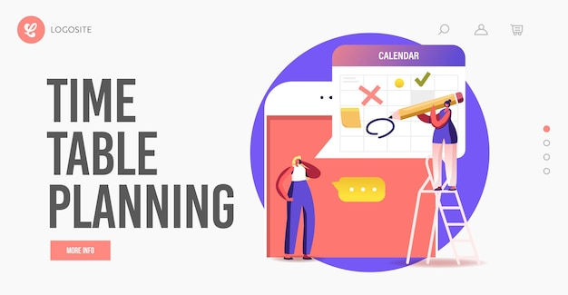 Online meeting, scheduling landing page template. tiny office workers chatting via webcam conference using huge smartphone. characters video call with colleagues. cartoon people vector illustration