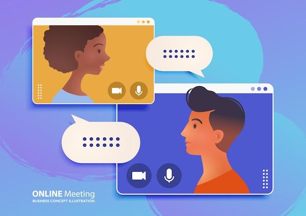 Онлайн-встреча через видеозвонок, работа из дома, иллюстрация