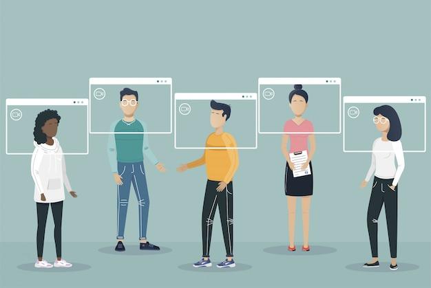 オンライン会議。ビデオ会議の着陸。コンピューターとスマートフォンの画面上の人々。バーチャルワークミーティング。フラットイラスト