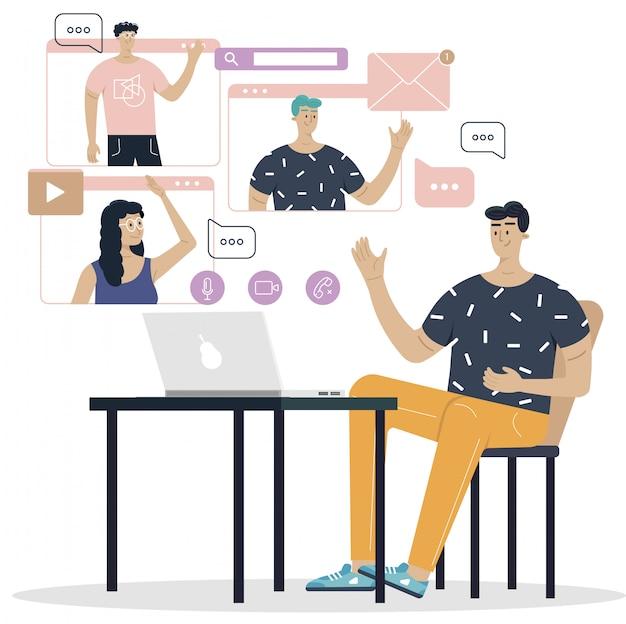 온라인 회의 화상 회의 착륙 컴퓨터와 스마트 폰 화면에있는 사람들. 가상 업무 회의. 평면 벡터 일러스트 레이션