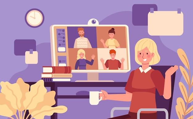 オンライン会議。同僚とのビデオ会議の女性のオンライン会議、コンピューターを使用したリモートワーク、集合的な仮想チャットベクトルの概念。コンピューターでのイラストオンラインコミュニケーション