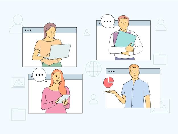 オンライン会議、仮想会議、ビデオ通話のコンセプト。オンラインビジネスミーティングや遠方の交渉に参加しているメンバーに会う人々のパートナー