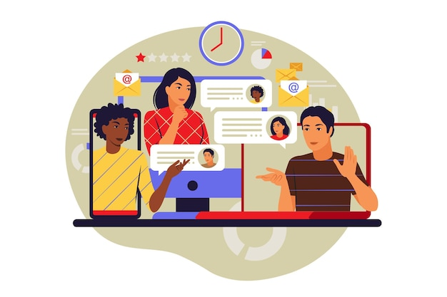 Online meetup concept. virtual meeting and meetup group. vector illustration. flat.