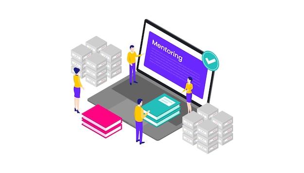 온라인 멘토링 및 교육 플랫폼 아이소메트릭 3d 벡터 일러스트 데스크톱 웹 사용자 인터페이스