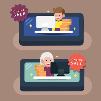 Online merchant on mobile with goods