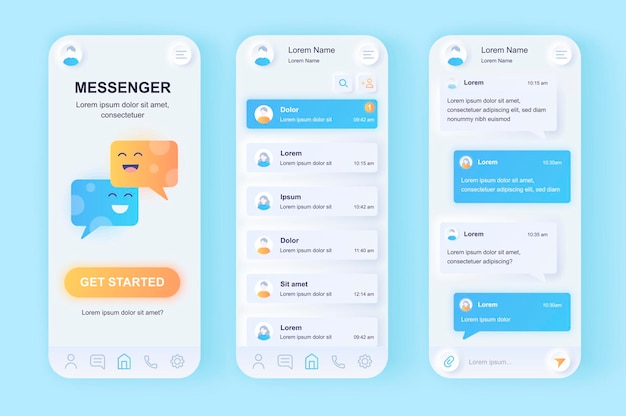 Online messenger modern neumorphic design ui mobile app
