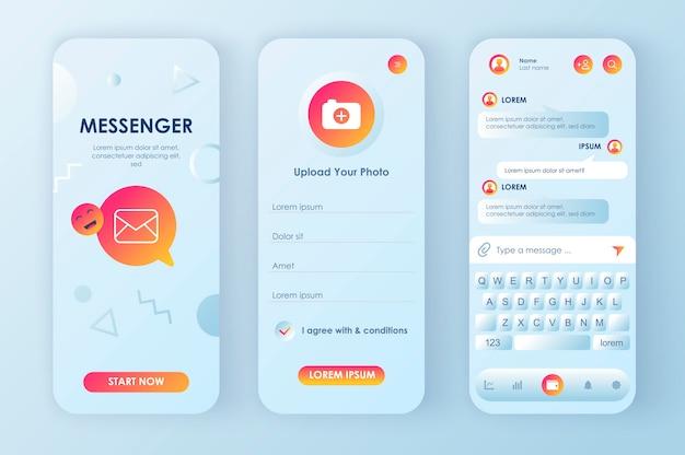 Онлайн мессенджер уникальный неоморфный набор для приложения. социальная сеть текстовых сообщений с профилем пользователя и чат-клавиатурой. пользовательский интерфейс мобильного мессенджера, набор шаблонов ux. графический интерфейс для отзывчивого мобильного приложения.
