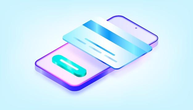 Оплата через мобильное приложение онлайн. 3d градиентная иллюстрация.