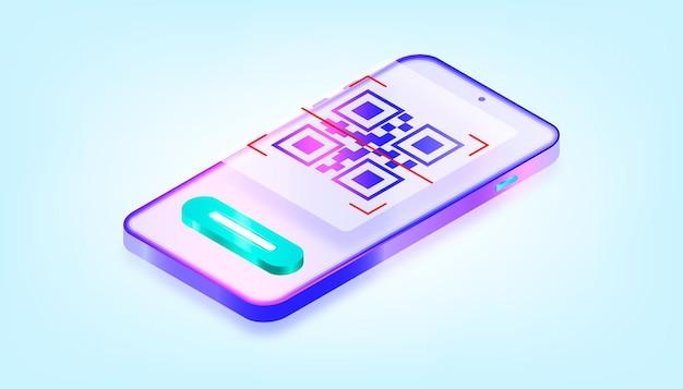 Online mobile app qr code scanner. 3d gradient illustration.