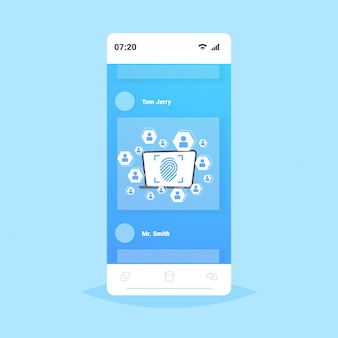 Online mobile application biometric fingerprint security data protection access future computer technology user identification concept smartphone screen