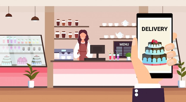 Online mobile application food delivery concept bakery shop owner standing behind bar counter modern cafeteria interior flat horizontal cartoon character portrait