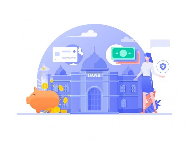 オンラインモバイルバンキングフラットデザイン。ビジネス財務管理、デジタル銀行サービスフィンテックコンセプト。インターネットバンキングの背景を行う女性キャラクター。図。