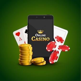 オンラインモバイルカジノの背景。ポーカーアプリオンラインのコンセプト。チップ、カード、コインを搭載したスマートフォン