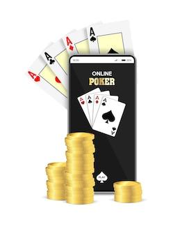 온라인 모바일 카지노. 온라인 게임 포커 응용 프로그램. 카드와 동전을 가진 똑똑한 전화입니다.