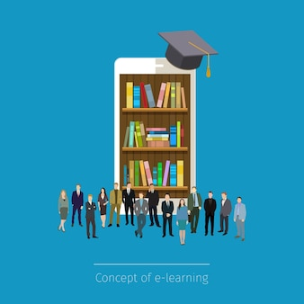 スマートフォンのオンライン移動図書館。教育の概念。スマートフォンのタブレットの本、周りに立っているマイクロの人々。