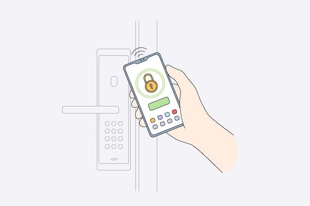 온라인 모바일 보안 시스템 개념 프리미엄 벡터