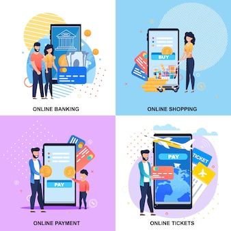 Online mobile servicing banners set for banking, payment, booking, shopping