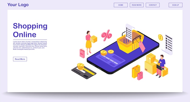 Online mobile shopping app webpage  template with isometric illustration