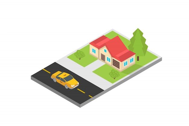 Online mobile taxi app isometric concept. gps route point and yellow cab.
